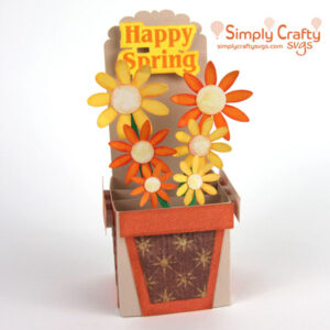 Spring Flower Pot Box Card SVG