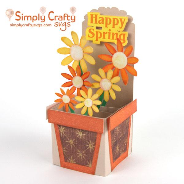 Spring Flower Pot Box Card SVG
