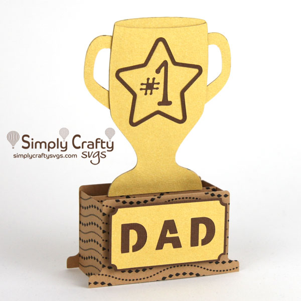 Dad Trophy Box Card SVG File