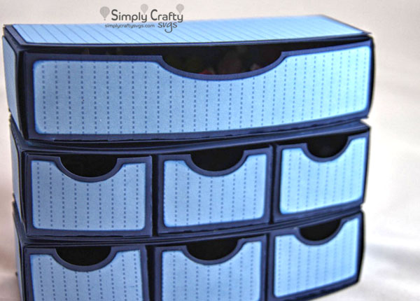 Curvy Stacked Drawers Organizer SVG File